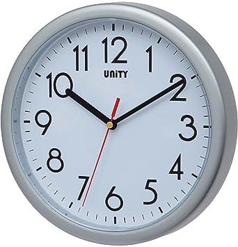 Unity Hastings- Reloj de Pared, silencioso, Moderno, 22 cm, plástico, Plateado, 22 x 22 x 5 cm: Amazon.es: Hogar