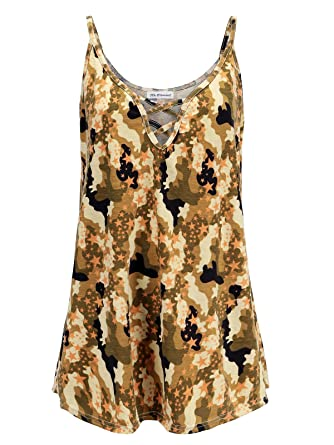 a5bcbe00ed8 Womens Plus Size Cami V-Neck Basic Camisole Tank Top (Army Green Camouflage  Print