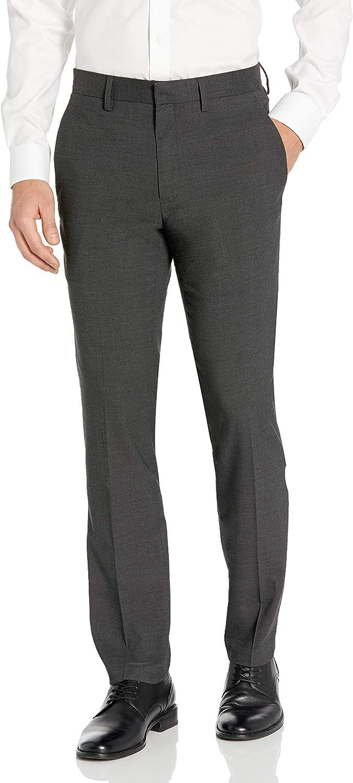 Kenneth Cole REACTION Mens Textured Plaid Flat Front Slim Fit Dress Pant Dress Pants
