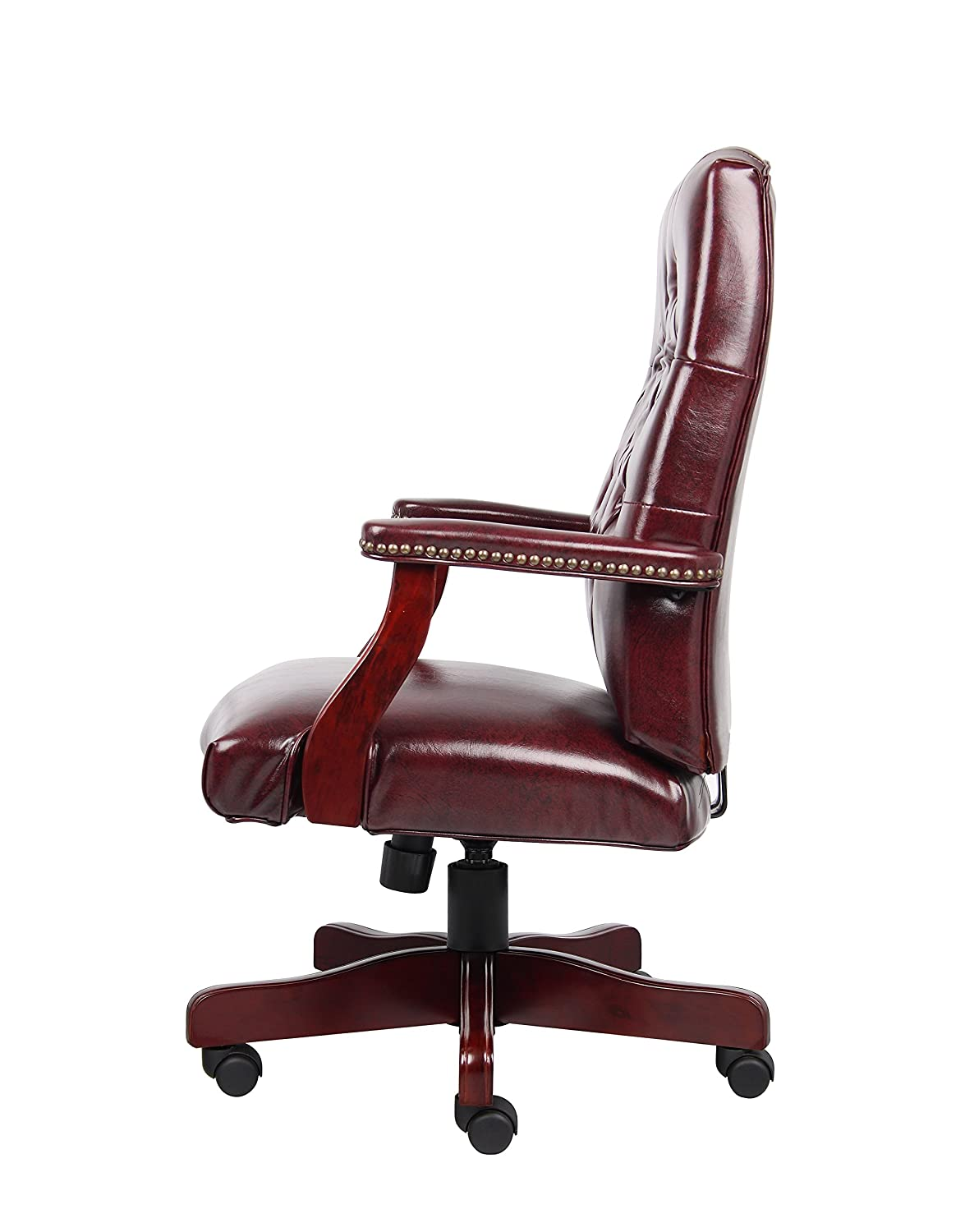 classic office chair. Amazon.com: Boss Office Products B905-BY Classic Executive Caressoft Chair With Mahogany Finish In Burgundy: Kitchen \u0026 Dining L