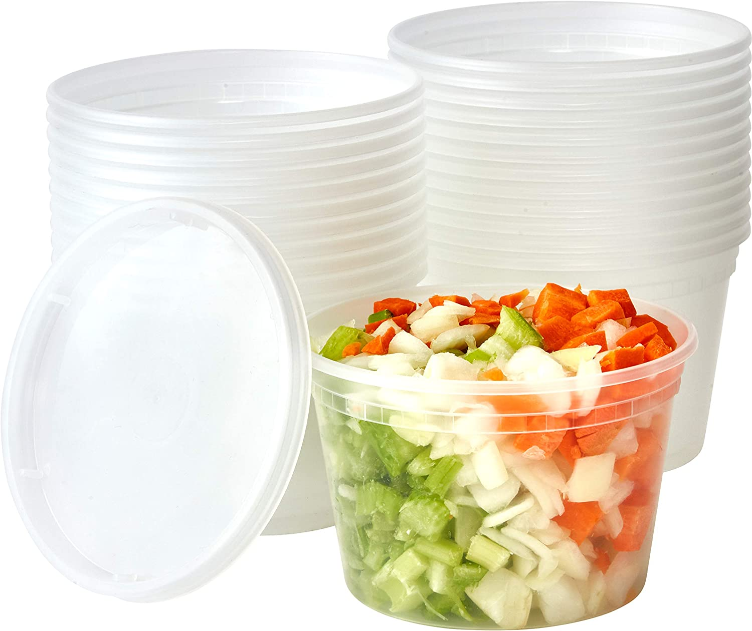 Deli Grade, BPA Free 16oz Plastic Containers with Lids, 24ct. Leakproof, Microwavable Portion Container for To-Go Orders, Food Prep and Storage. Reusable Takeout Cups for Restaurant, Cafe and Catering