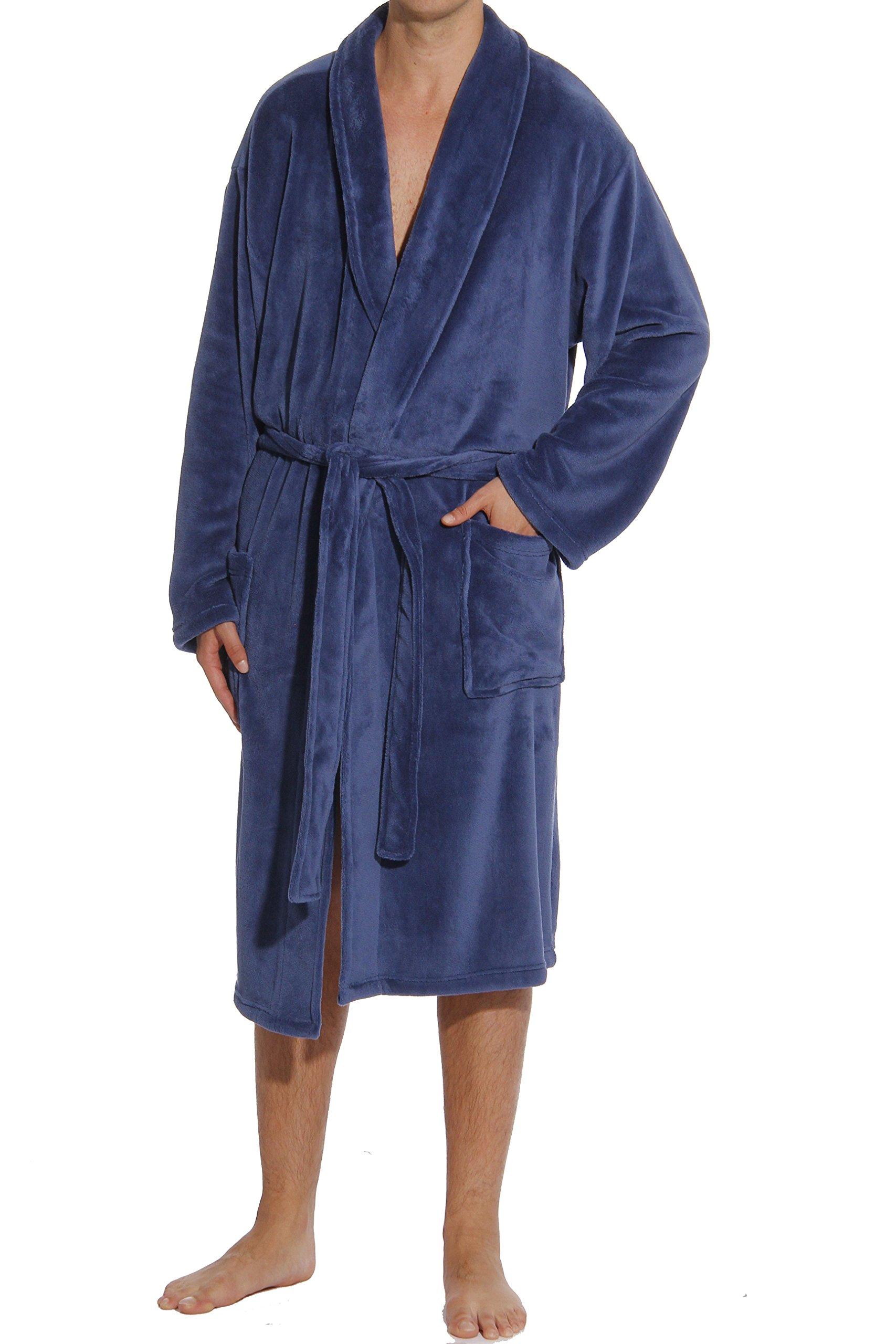 #followme 46902-NVY-L Plush Robe Robes For Men