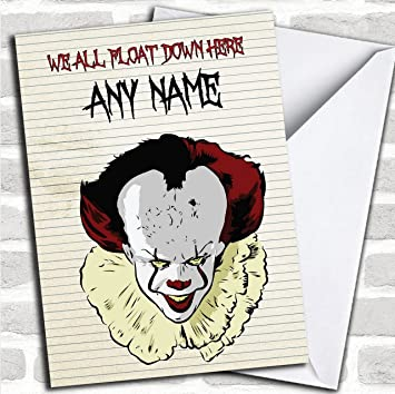 Pennywise Clown It Float Customised Birthday Greetings Card Cards Horror Scary