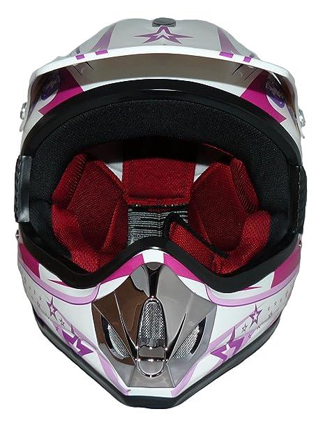 Amazon.es: Protectwear Niños Casco Cross MaX Racing rosa brillante V310- Chica Tamaño S (juventud XL) 55 cm