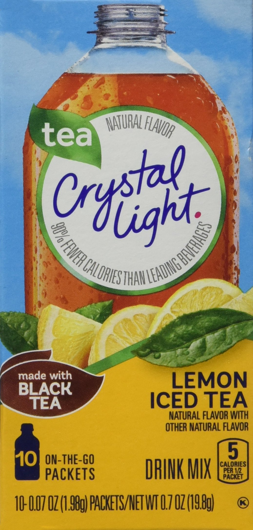 Crystal Light Iced Tea On The Go with Lemon, 10-Count, 0.7-Ounce Packages (Pack of 6)