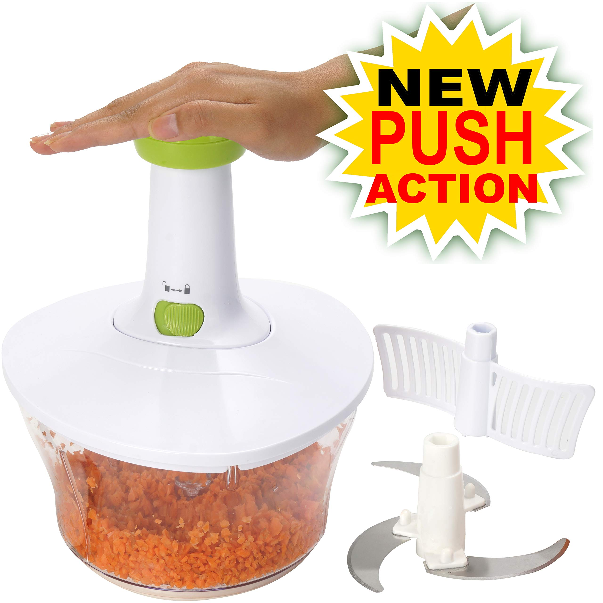 Brieftons Express Food Chopper: Large 6.8-Cup, Quick & Powerful Manual Hand Held Chopper/Mixer to Chop Fruits, Vegetables, Herbs, Onions for Salsa, Salad, Pesto, Hummus, Guacamole, Coleslaw, Puree by Brieftons