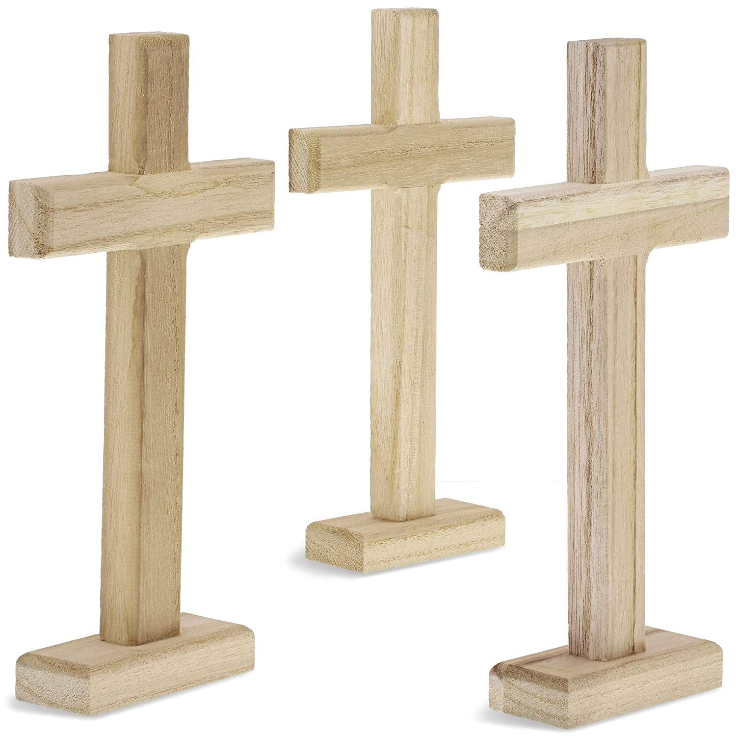 Juvale Unfinished Wood Home Decor Standing Table Cross 3 Pack