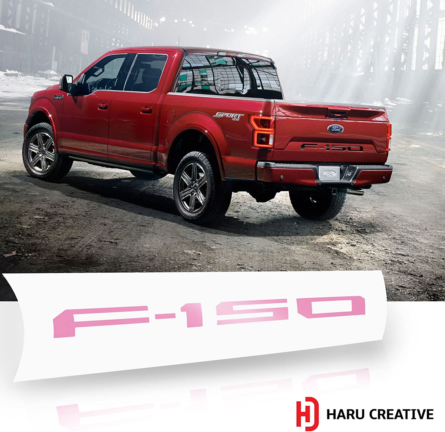 Gloss Pink Haru Creative Rear Tailgate Letter Insert Overlay Decal Compatible with and Fits 2018 Ford F150 F-150