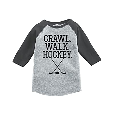 7 ate 9 Apparel Kids Crawl Walk Hockey Grey Baseball Tee