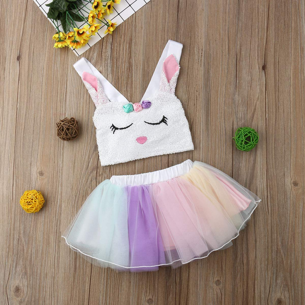 Toddler Kids Easter Outfit Baby Girls Sequin Bunny Crop Top Tutu Tulle Skirt Sets