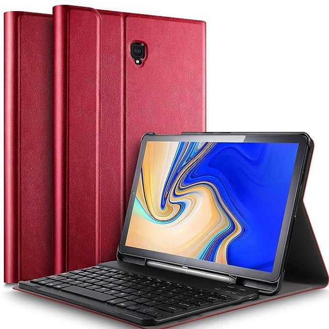 IVSO Tastatur Hülle für Samsung Galaxy Tab S4 T830/T835,[QWERTZ Deutsches], Slim PU Fronthalterung Hülle mit Abnehmbar Tastat