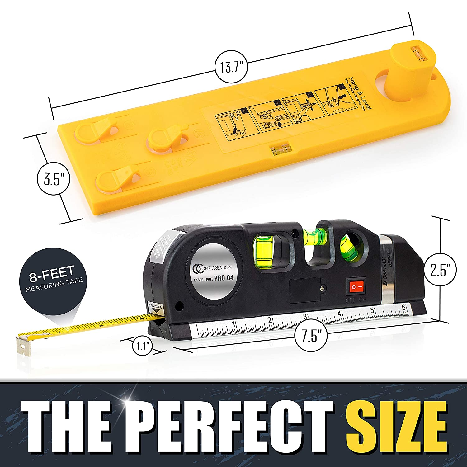 Vertical /& Horizontal Use Imperial /& Metric Measurements Contractor Tool Ofircreation 3-in-1 Laser Level 3.5mV w//Built-In Measuring Tape Multipurpose Woodworking Picture Hanger Tool