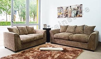 B U THE SOFA EXPERT Dylon Byron Caramel Mink Fabric Jumbo Cord Sofa Settee  Couch 3+