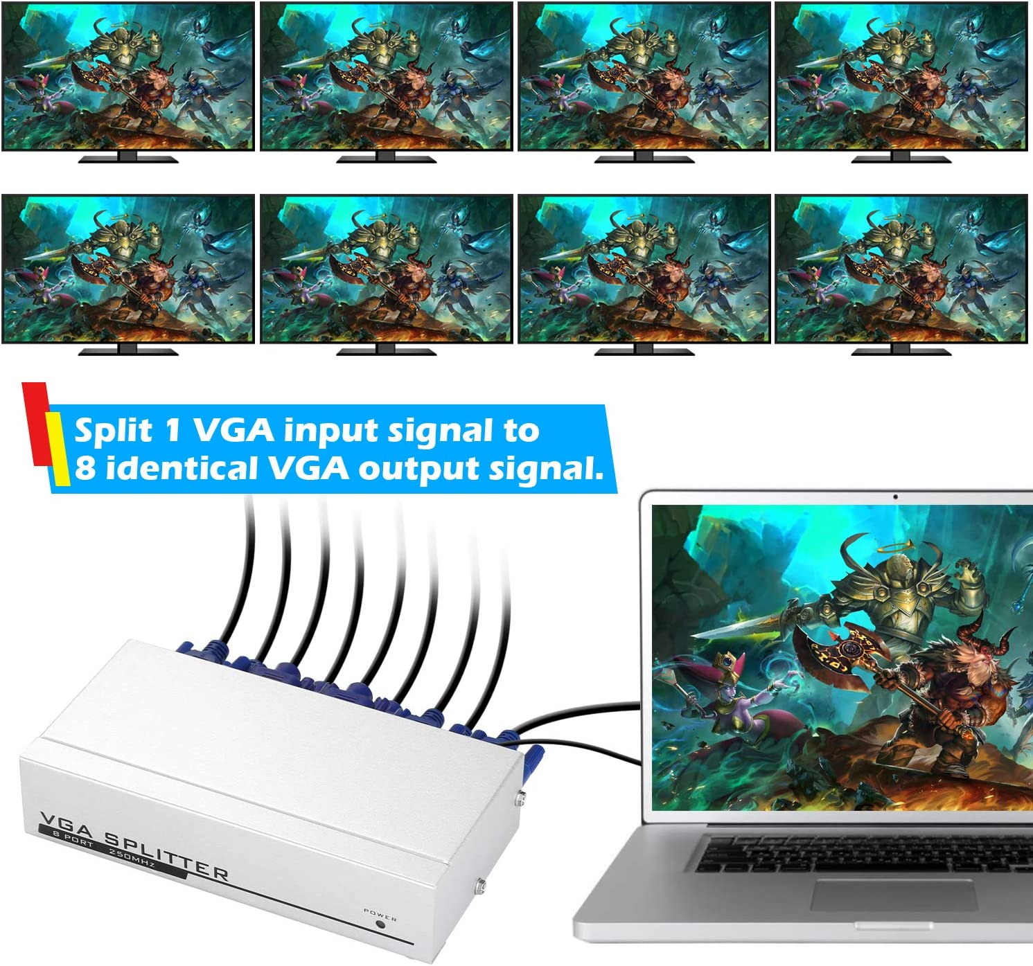 IMAGE 1 PC to 8 Monitors Splitter Box VGA//SVGA LCD CRT 8 Port Video Multi Monitors with Built-in Signal Booster 250MHZ Bandwidth 1920X1400 Resolution Screen Duplication
