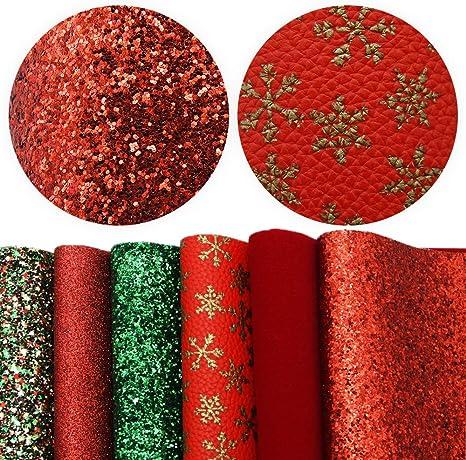 Set Of 6 Christmas Glitter Hair Bows