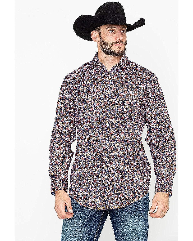 R0s8418 Panhandle Mens Galena Vintage Print Long Sleeve Western Shirt