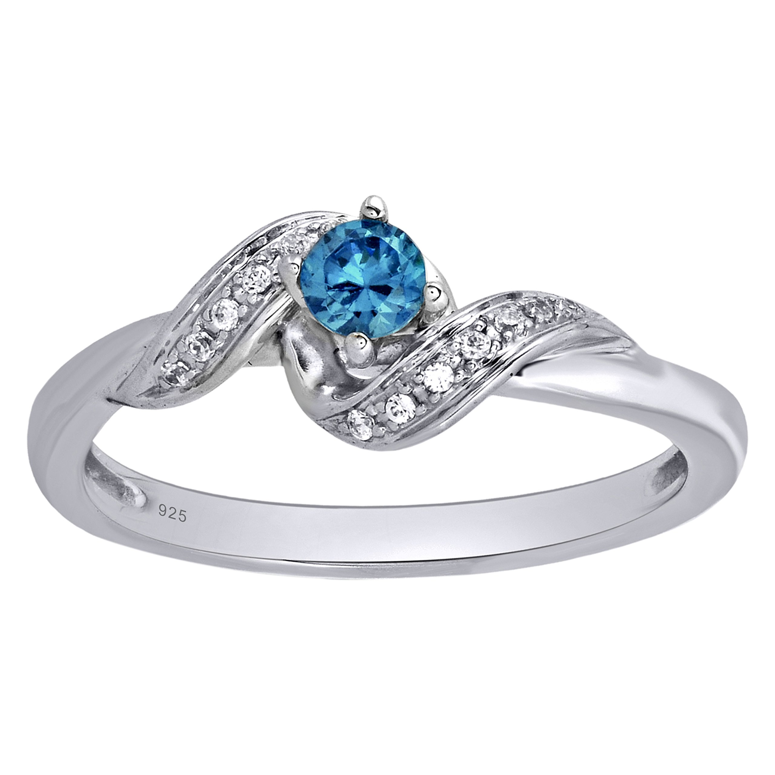 Sterling Silver 1/4cttw Round Blue and White Diamond Promise Ring