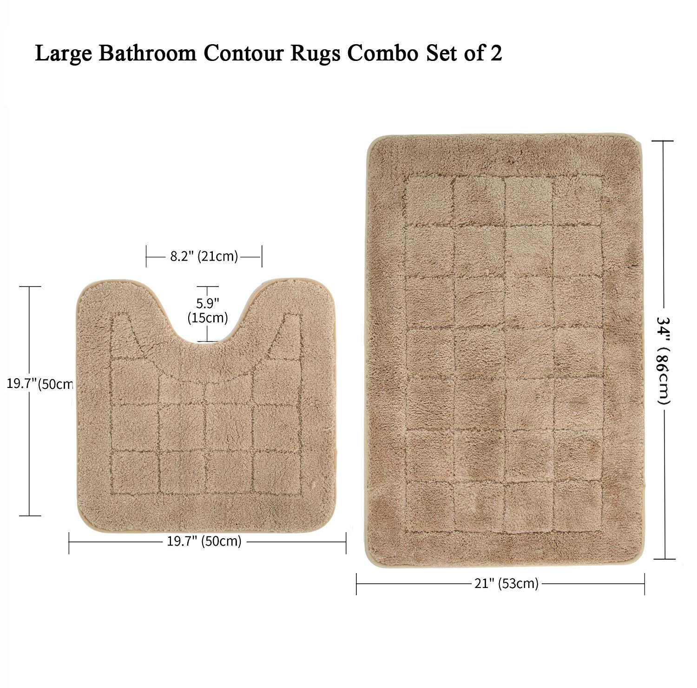 Beige, 53 x 86 cm + 50 x 50 cm Pauwer Microfaser Weiches Badematten Set 2 teilige Saugf/ähiges Badteppich rutschfeste Waschbare Badematten und WC Vorleger Badvorleger