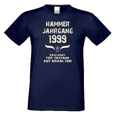 Geburtstags Motiv Herren T-Shirt Geschenk Zum 19. Geburtstag Hammer Jahrgang  1999 Farbe: Schwarz Blau Rot Grün Braun Auch in Übergrößen 3XL, 4XL, 5XL:  ...