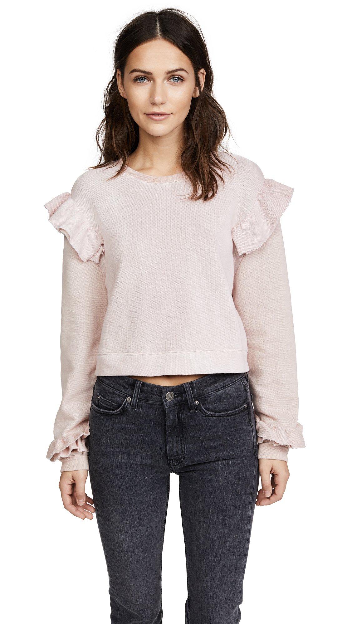 LOVESHACKFANCY Women's Ruffle Sweatshirt, Dusty Rose, X-Small