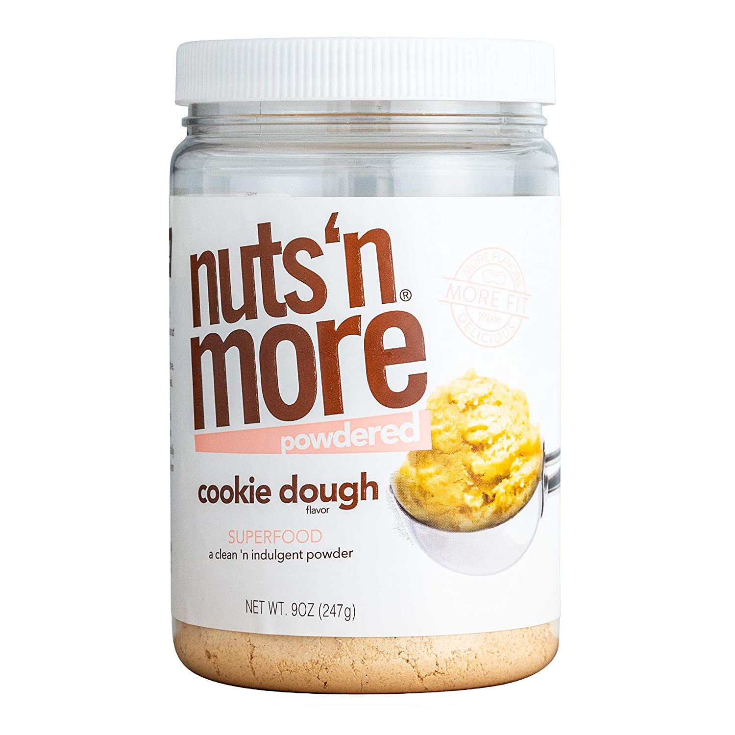 Nuts 'N More Cookie Dough Peanut Butter Powder, All Natural Keto Snack, Low Carb, Low Sugar, Gluten Free, Non-GMO, High Protein Flavored Nut Butter (9 oz Jar)