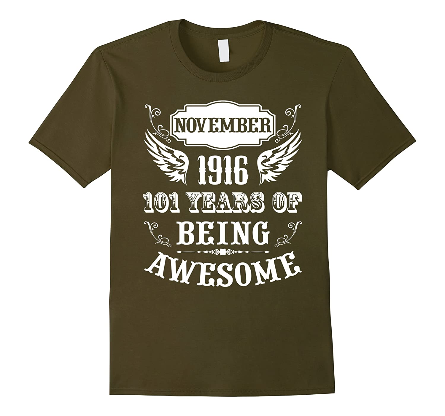 101st Birthday Gift Born in November 1916 Vintage Tee Shirt-ANZ