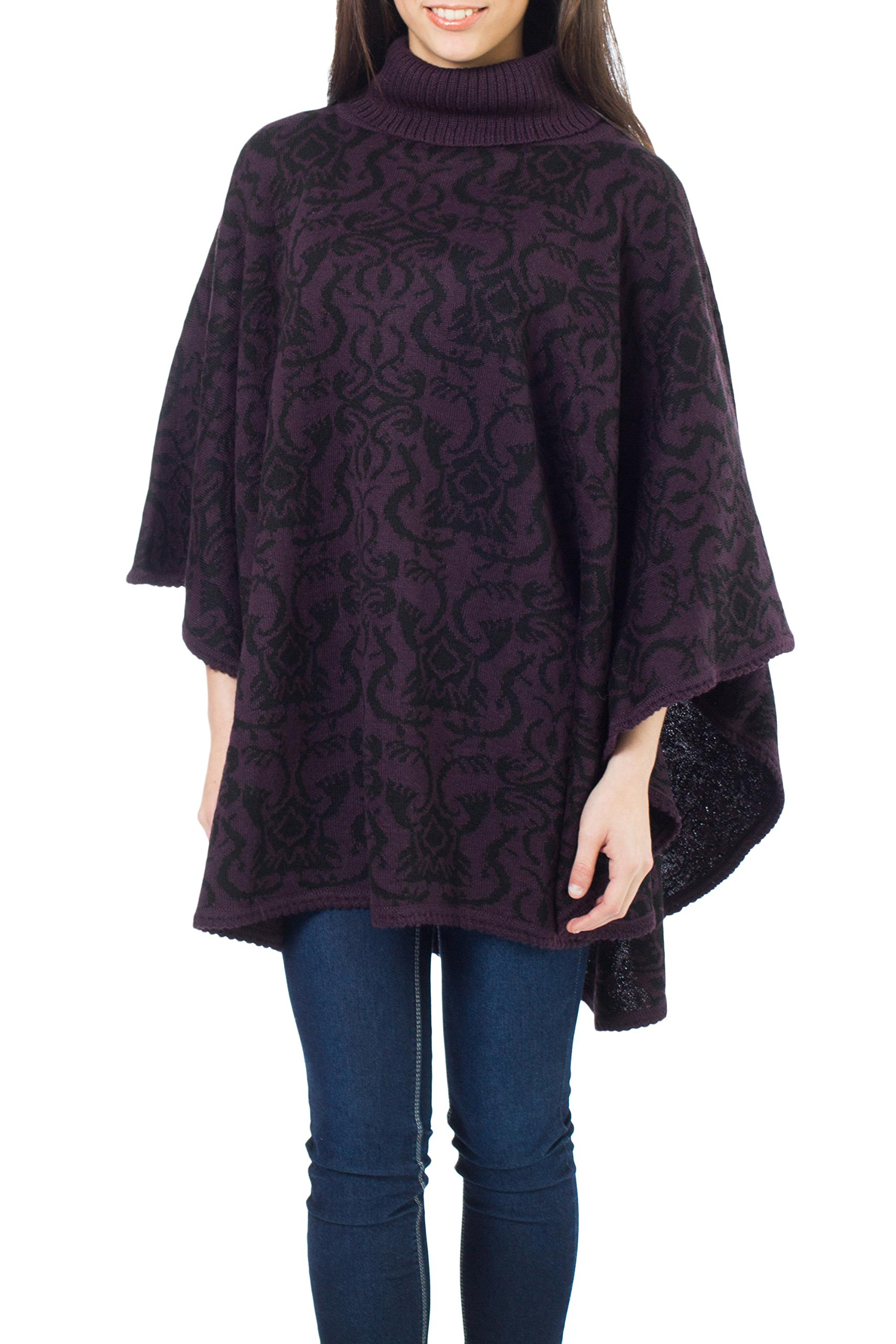 NOVICA Purple Alpaca Blend Reversible Poncho, 'Sublime Purple'