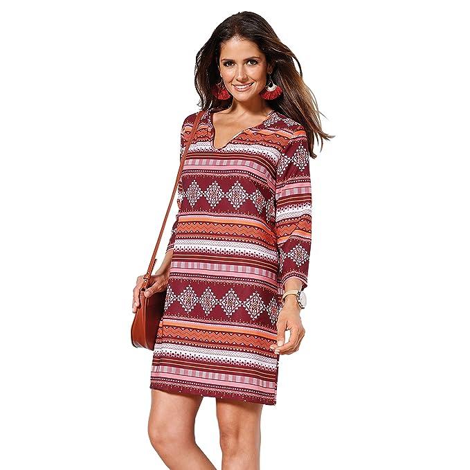 VENCA Vestido Tipo túnica Mujer by Vencastyle - 010247,Estampado Rojo Granate,L