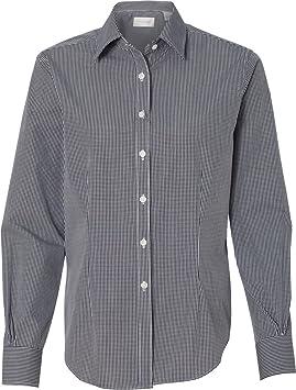 42aab942154824 Van Heusen V0226 Ladies Long Sleeve Yarn Dyed Gingham Check: Amazon ...