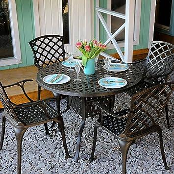 Lazy Susan - Table ronde 106 cm LISA et 4 chaises de jardin - Salon ...