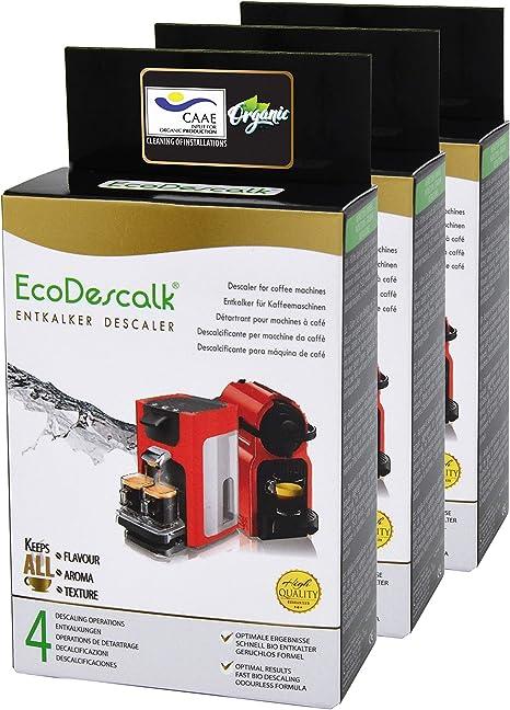 EcoDescalk Ecológico en Polvo, 3x4 Sobres. Descalcificador 100% Natural. Limpiador para Cafeteras. Todas Las Marcas. 12 Descalcificaciones. Producto