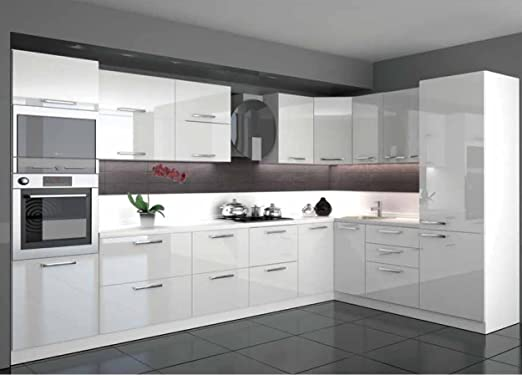 Global Trade Küche L Form Hochglanz 9,9 m x 9,90 m mit E-Geräten