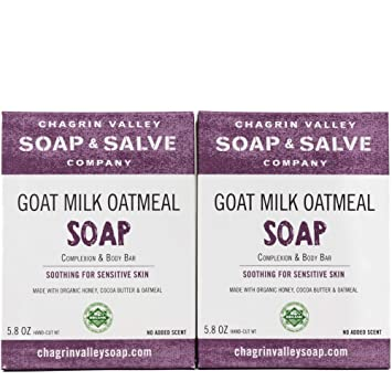 Organic Natural Soap Bar - Goat Milk Honey Oatmeal 2X Pack - Chagrin Valley  Soap & Salve