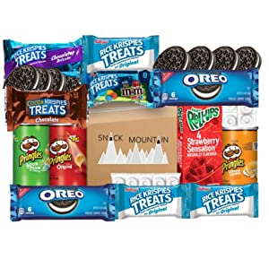 Snack Mountain Care Pack (25 Count) Cookies, Fruit Roll-ups, Rice Krispies Treats, Assorted Candy, Pringles Snack Pack Cans: Mixed Variety Pack, College Students, Military, Individually Wrapped