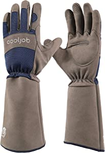 COOLJOB Rose Pruning Thorn Proof Gardening Gloves For Men, Long Sleeve Puncture Proof Gloves With Forearm Protection For Gardeners, Large Size, Navy & Grey (1 Pair L)