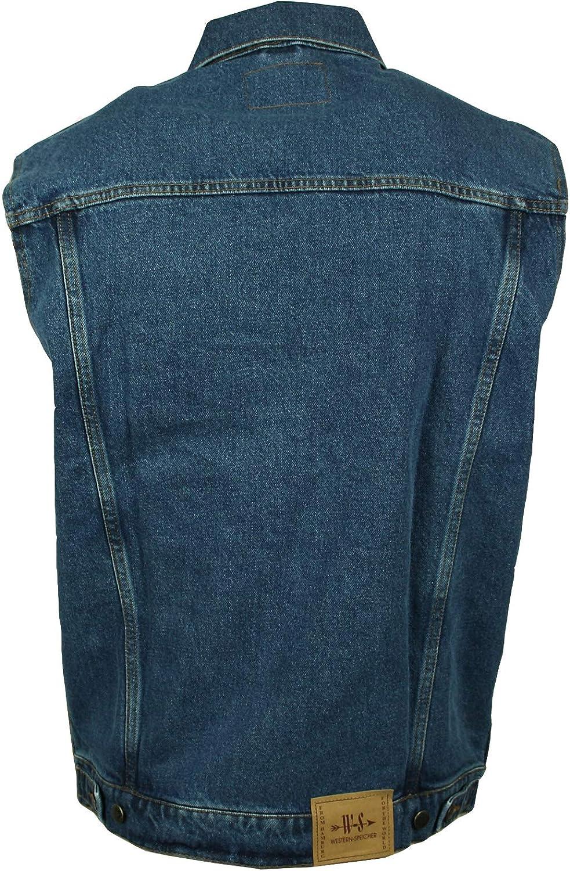 4XL WESTERN-SPEICHER Jeansweste Herren Denim Biker Weste Kutte Basic blau S