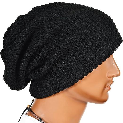 Kafeimali Men s Women s Knit Crochet Snowboard Hat Cable Knit Beanie Caps  Autumn winter Hats (Black 7853c39c745