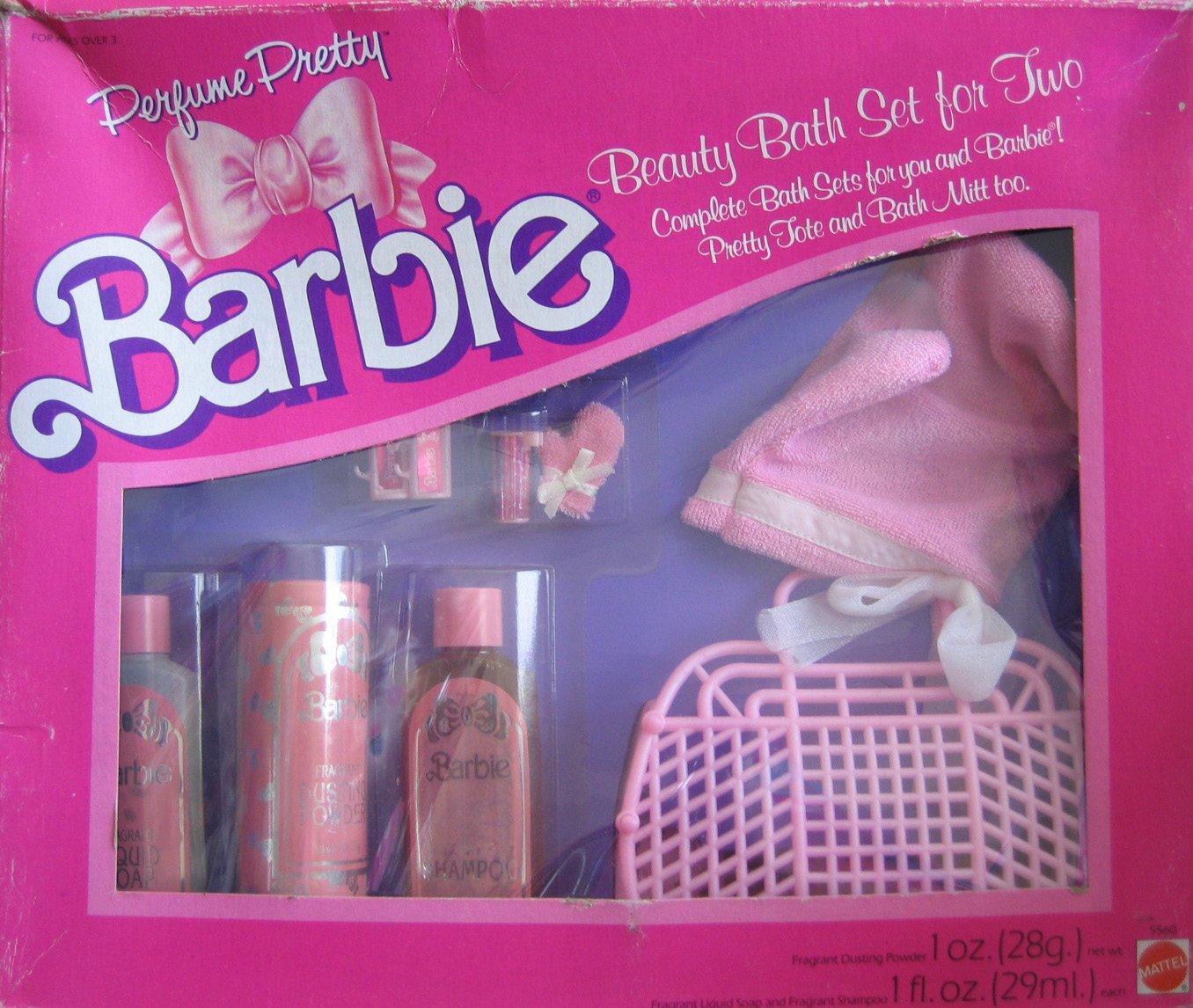 Amazon.com: Barbie Perfume Pretty Beauty Bath Set For TWO, Complete Bath  Sets For YOU U0026 Barbie! (1987 Hawthorne): Toys U0026 Games