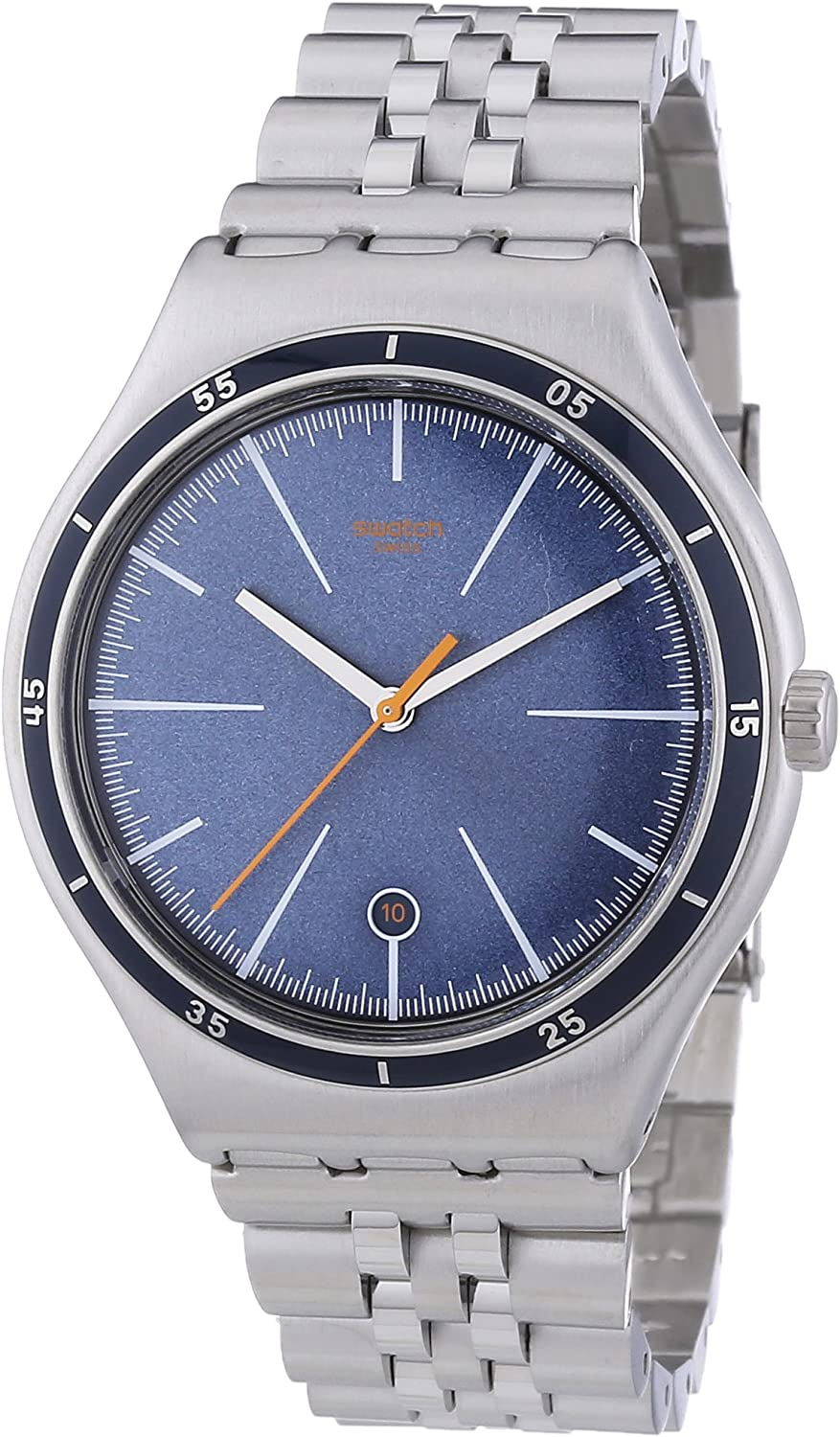 Swatch Irony Big Classic Star Chief - Reloj de Cuarzo para Hombre, con Correa de Acero Inoxidable, Color Plateado