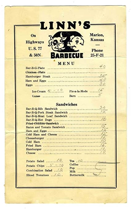 Amazon Com Linn S Barbecue Restaurant Menu Marion Kansas