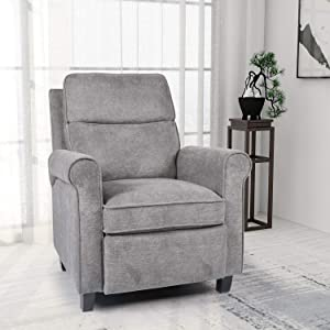 SMUGDESK Push Back Recliner Chair Single Reclining Sofa Fabric Sofa Chair with Thicker Seat Cushion Adjustable Home Theater Seating Living Room Lounge Chaise with Padded Seat Backrest