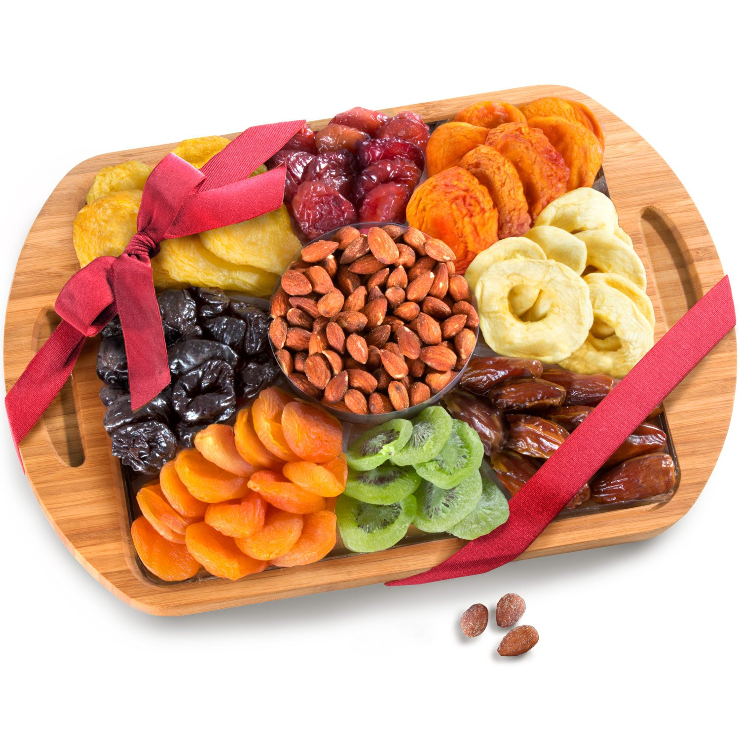 Golden State Fruit Dried Fruit and Nuts In Keepsake Bamboo Cutting Board Serving Tray with Handles by Golden State Fruit