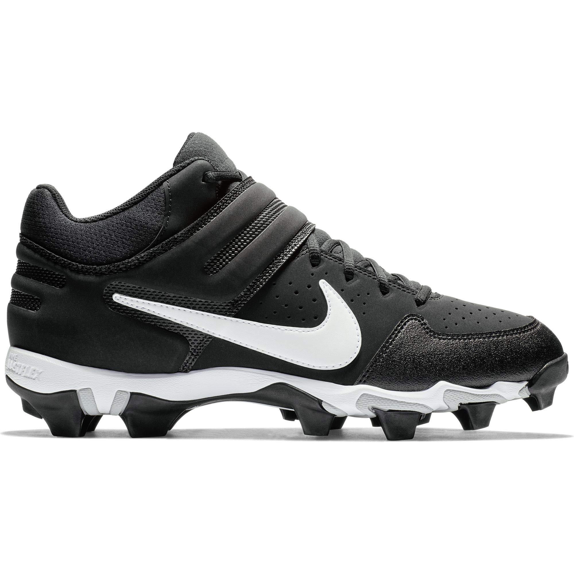 Nike Men's Alpha Huarache Varsity Keystone Mid Molded Baseball Cleat Black/White Size 6.5 M US