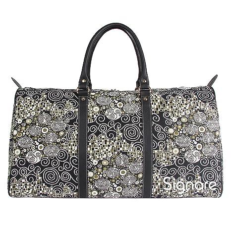 Bolsa de viaje grande de moda Signare para mujer en tela de tapiz bolsa de viaje para el fin de semana Klimt (El beso)