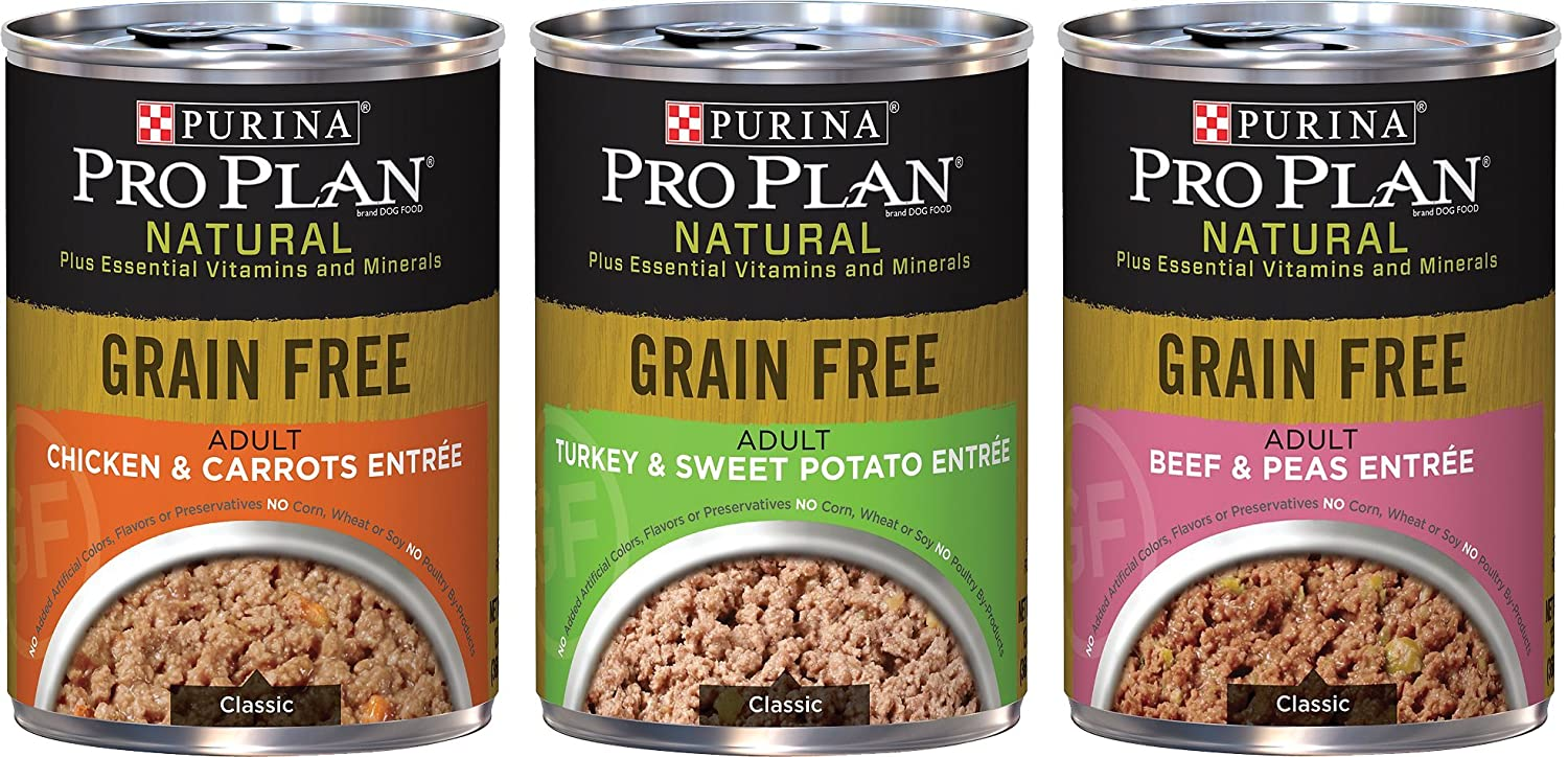Purina Pro Plan Natural Grain Free Wet Adult Dog Food Variety Pack, 3 Flavors, 13-Ounces Each (6 Pack)