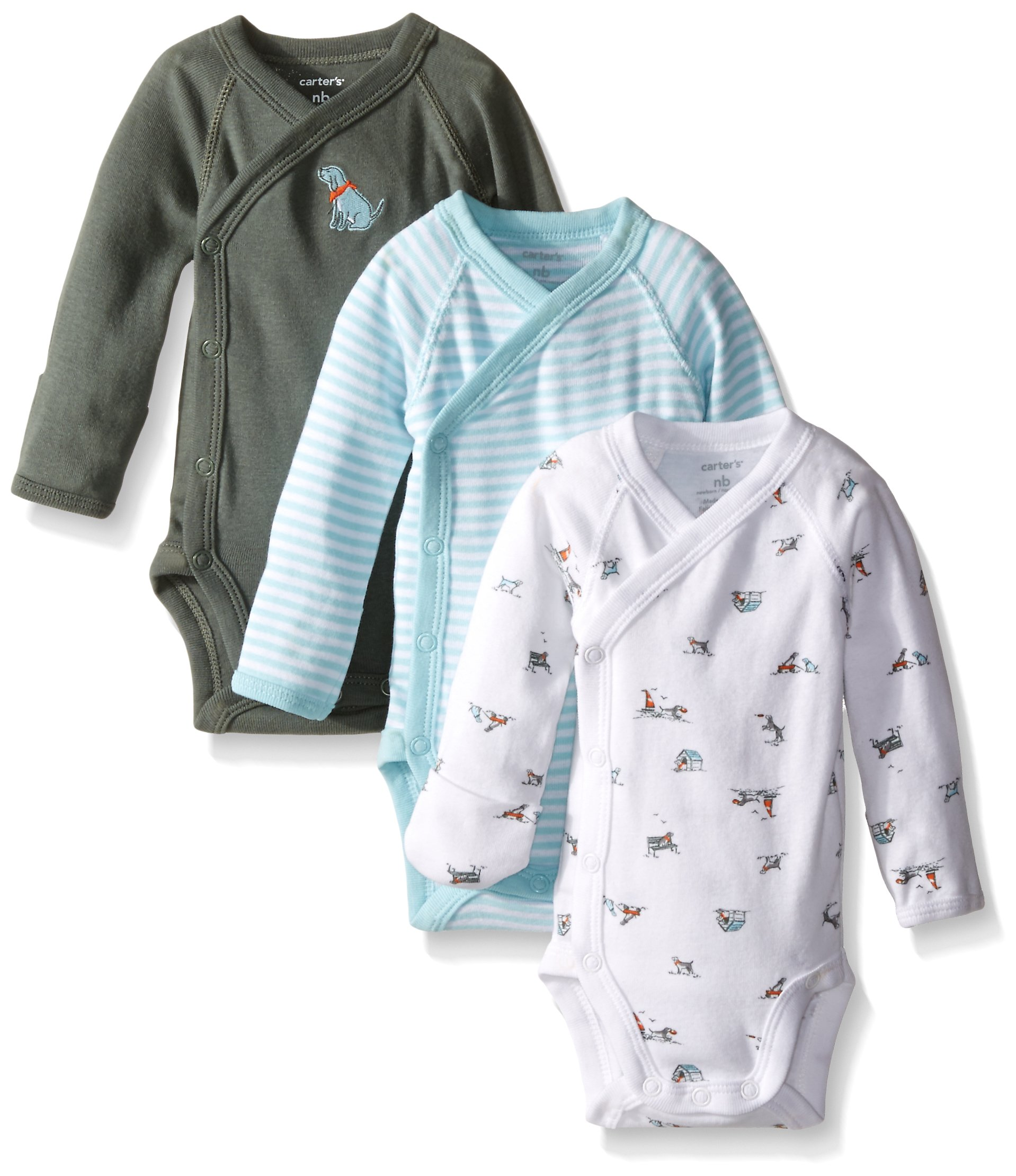 99a493b16 Galleon - Carter's Baby Boys' 3 Pack Side Snap Bodysuits (Baby) - Olive - 3M