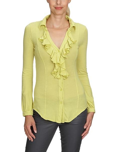 Bobi - Blusa de manga larga para mujer, talla 40, color Amarillo (Reflective