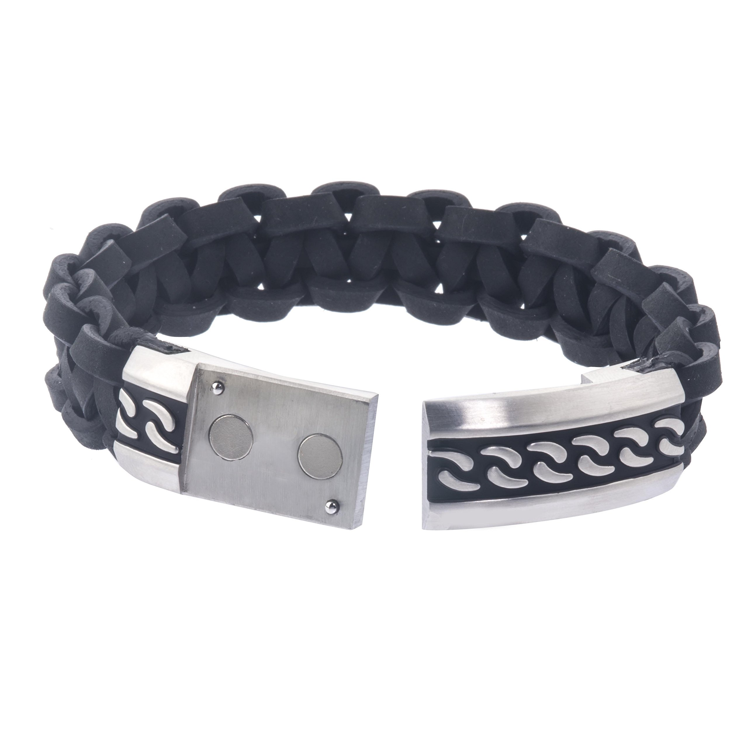 AX Jewelry Mens Stainless Steel Braided Leather Bracelet by AX Jewelry (Image #3)