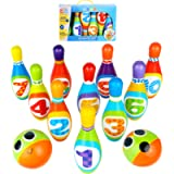ToyVelt Kids Bowling Set - with 10 Bowling Pins & 2 Balls - Educational Early Development Indoor & Outdoor Games Set…