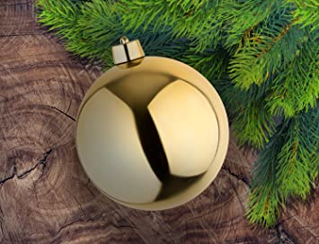 Christbaumkugeln Hochwertig.8 Grosse Weihnachtskugeln Christbaumkugeln Goldglanzend 25 Cm Durchmesser Hochwertig Fur Innen Und Wetterfest Fur Aussen Mit Aufhangung Und Goldband